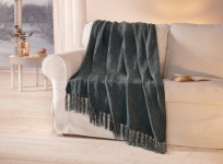 Kuscheldecke 'Silbergarn anthrazit 127x152 cm Tages Wohn Sofa Couch Strick Decke