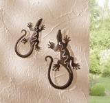 "2er METALLDEKO "" Gecko"" SALAMANDER WANDHÄNGER WANDDEKO WANDSCHMUCK DEKO FIGUR"