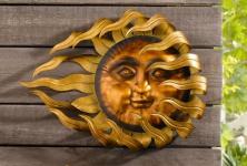 """Metall Hänger """" Flammende Sonne"""", groß, bronze / gold, Wand Deko Schmuck"""