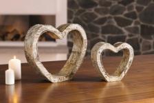 2 Herzen aus Birken Holz, mit Rinde, Deko Objekt Herz Hochzeit Liebe