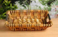 Schale aus Weide, Seegras & Holz, mit Metall Griffen, Deko Brot Obst Flecht Korb