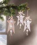 3er Sternen Hänger 'Glöckchen? aus Holz Deko Stern Weihnachten Weihnachtsstern