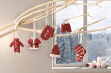 6ER HÄNGER Weihnachtskleidung DEKOHÄNGER WEIHNACHTEN PORZELLAN CHRISTBAUMSCHMUCK