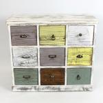 Flur Kommode im Shabby Look aus Holz, weiß, 9 Schubladen bunt, Schrank Sideboard