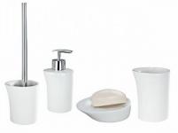 4tlg Wenko Bad Set PALOMA weiß WC Garnitur Seifenspender + Schale Zahnputzbecher