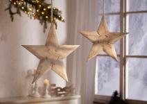 Deko 'Stern? aus Holz Hänger Weihnachten Weihnachtsstern Christbaumschmuck