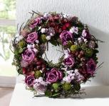 """Kranz """" Lila Rose"""" aus Natur Materialien + Textil Blüten. Wand Tisch Deko"""