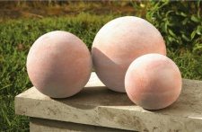 3er Set Terracotta Kugel Garten Terrasse Stein Keramik Deko Rosen Ball Kugeln