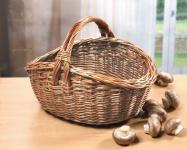 Einkaufskorb aus Vollweide, natur, 40x32, Bügel Weiden Auto Picknick Trage Korb