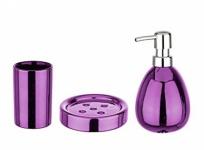 3tlg. WENKO Bad Set POLARIS aus KERAMIK pink metallic Seifen Schale + Spender