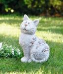 DEKO FIGUR 'Stein-Katze' grau aus Fiberglas + Ton GARTEN TERRASSE TIER FIGUR