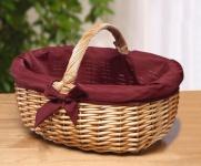 Einkaufskorb aus Weide, mit Stoff Einlage, Auto Ernte Obst Picknick Flecht Korb