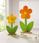 2er Große Blume 'Filz? Holz Kunst Blume Blüte Deko Blumen Tisch Objekt