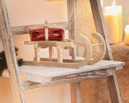 Deko Schlitten aus Holz & Sisal, Weihnachts Weihnachten Winter Deko Figur