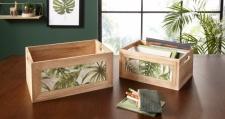 2er Aufbewahrungsbox 'Leaves? aus Weide in Shabby-Look Korb Kiste Box Deko