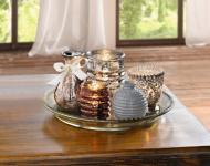 """6 tlg Deko Set """" Orient"""" Glas Tablett + 3x Windlicht 2x Vase Tisch Kerzen Halter"""