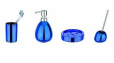 4tlg. WENKO BAD SET Polaris aus KERAMIK blau metallic WC GARNITUR SEIFENSPENDER