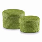 ZELLER 2er KORB SET rund grün mit DECKEL NEU AUFBEWAHRUNGSKORB KISTE BOX