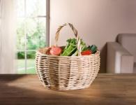 Einkaufskorb 'Weiße Weide? Einkaufstasche Korb Bügel Ernte Füllkorb Picknick