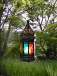 Metall Laterne 'Marrakesch' schwarz Garten Windlicht Orient orientalisch bunt