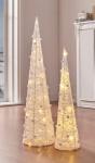 2er LED Kegel 'Schnee-Pompons? Weihnachten Weihnachtsdeko Tannenbaum Deko Licht