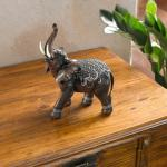 "DEKO FIGUR "" Indischer Elefant' POLYSTEIN DEKO STATUE ASIA SKULPTUR TIERFIGUR NEU"