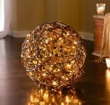 DEKO KUGEL Lichterzauber aus WEIDE mit 50 LED Leuchten TISCH LAMPE LEUCHT LICHT