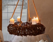 Hänge-Adventskranz 'Rustikal? Windlicht Kerzen Halter Weihnachten Adventsbogen