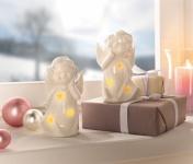 2er LED Deko 'Engelpaar? Innenbereich Stimmungs Licht Objekt Weihnachten