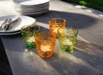 GLAS-WINDLICHT 'Tupfen' 4er SET mehrfarbig TEELICHTHALTER KERZENHALTER TISCHDEKO
