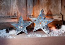 2er TEELICHT HALTER 'Sternenschein? aus METALL KERZEN STÄNDER LATERNE WINDLICHT