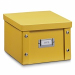 2x ZELLER DVD BOX mit DECKEL mango für 26 DVD's AUFBEWAHRUNG KISTE KARTON CASE