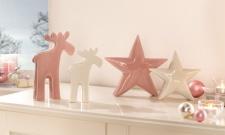 2er Deko Elch 'Malve? Weihnachten Weihnachtsdeko Porzellan Figur Winter stehend