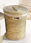 großer Wäschekorb aus Seegras, mit Deckel, Wäsche Sammler Truhe Box Sack