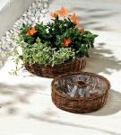2er Set Pflanz Rad aus Weide, natur, Blumen Topf Kübel Kasten Korb Garten Deko