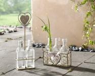 4tlg VASENKÖRBCHEN Romance METALL KORB mit 3 GLAS VASEN GLASFLASCHEN TISCHDEKO