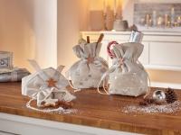3er Geschenk Beutel 'Silbersterne? Textil Tasche Weihnachten Weichnachtsbeutel