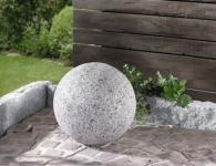 DEKO KUGEL 'Granit' Ø 30 cm POLYSTEIN GARTENKUGELN TERRASSE GARTENDEKO GRAU NEU