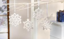 """4er Set Deko Hänger """" Schneekristall"""", Porzellan, weiß, Weihnachten Baum Schmuck"""