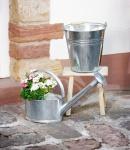 Gießkanne 'Nostalgie aus Blech mit Henkel Metall Kanne Garten Deko Pflanz Blumen