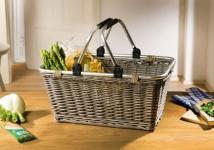 "Einkaufs Korb "" Shopping"" aus Weide, grau, Alu Henkel, Auto Picknick Trage Bügel"