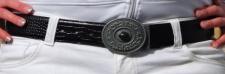 ECHT LEDER DAMEN GÜRTEL 105cm schwarz mit KOPPELSCHLIEßE NEU DAMENGÜRTEL