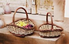 Bügelkorb Weide & Seegras, groß Einkaufs Obst Flecht Geschenk Aufbewahrungs Korb