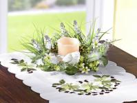 TISCHKRANZ mit ECHTWACHS LED KERZE Blumen Gräsern und Vogel DEKO KRANZ