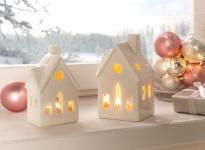 2er Teelichthalter 'Winterhaus? Deko Kerzen Halter Ständer Windlicht Weihnachten