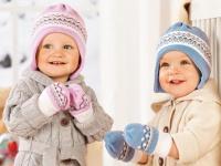 LUPILU BABY WINTER SET rosa MÜTZE + FÄUSTLINGE HANDSCHUHE NEU