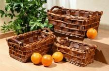 Füllkorb aus Weide + Holz, mit Griffen, braun Aufbewahrungs Obst Regal Korb Box