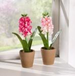 2er Deko Hyazinthe im Topf Kunst Blume Textil Blüte Tisch Fenster