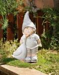 Deko Figur 'Junge mit Gans? aus Polystein Skulptur Jungenfigur Garten Zwerg
