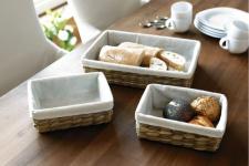 3 tlg. Korb Set aus Wasserhyazinthe & Bambus Deko Brot Brötchen Buffet Körbchen